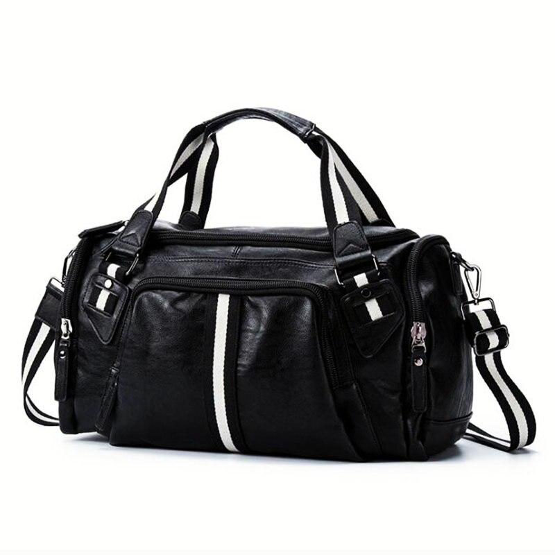 PU voyage sac de rangement pour Gym hommes Super doux en cuir sac à bagages nouveau Style noir Fitness sac à main homme grand sac à bandoulière