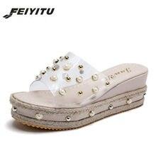 c862e468ab03b Feiyitu New Summer Women Slippers Female Thick Bottom Slope Platform Shoes  Woman Pearl Transparent Fashion Beach