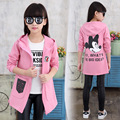 Hooded Jackets For Girls Children Outerwear Cotton Cartoon Mouse Girls Trench Coats Letter Kids Windbreaker 2 4 6 8 9 10 12 Year