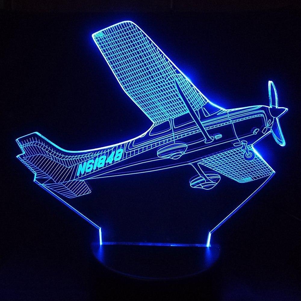 Adaptable 3d Led Decoración Del Hogar 7 Colores Cambio Helicóptero Modelado Lámpara De Mesa Usb Avión Mesita De Noche Accesorio Aire Avión Luz De Noche Regalos
