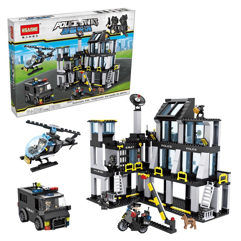 6512 Compatible with lego Police station SWAT Hotel De Police doll Military Series 3D Model building blocks city Boy Toy hobbies bohs building blocks city police station coastal guard swat truck motorcycle learning
