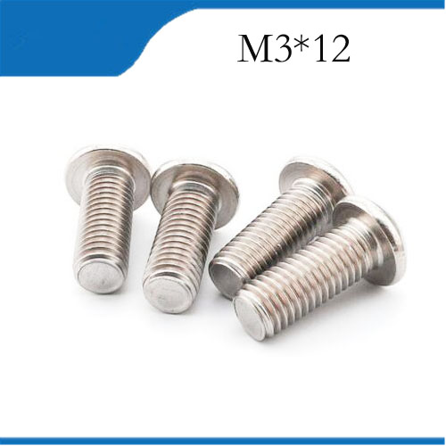 Free shipping 50pcs M3 12mm M3*12mm 304 Stainless Steel DIN7380 Inner HEX Bolt Hexagon Socket Mushroom Round Button Head Screw