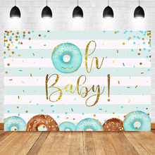 NeoBack Girl Boy Donut Baby Shower Photography Background Newborn Sky Blue Stripes Gold Shiny Dots Booth Backdrop Photo Studio