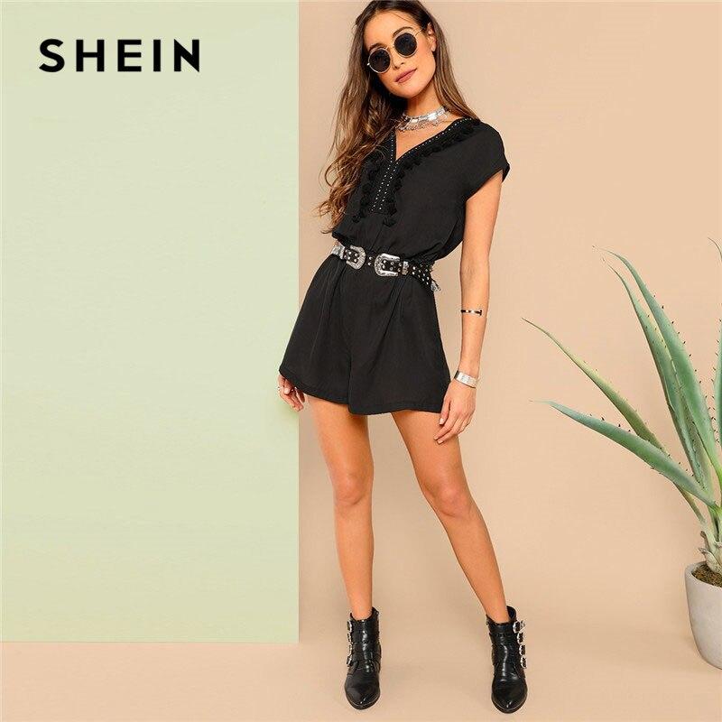 SHEIN Black Tassel Trim Studded Neck Elastic Waist Romper Without Belt Women Summer Highstreet Casual V Neck Jumpsuits