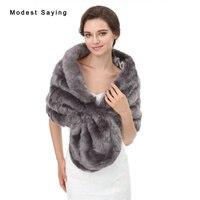 Grey Faux Fur Wedding Shrugs 2017 New Arrival Formal Bridal Shawls Women Party Boleros Fur Stoles