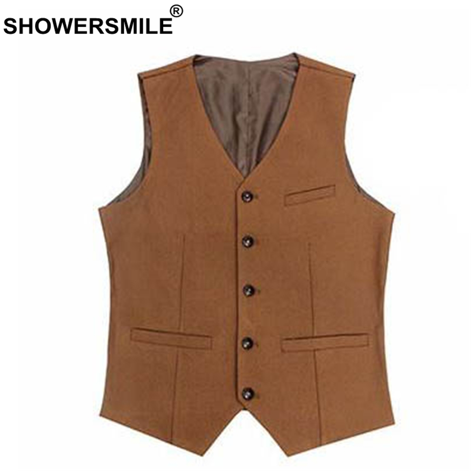 SHOWERSMILE Black Suit Vest Men Cotton Slim Fit Waistcoat Male Classic Gilet Suit British Style Autumn Winter Sleeveless Jacket