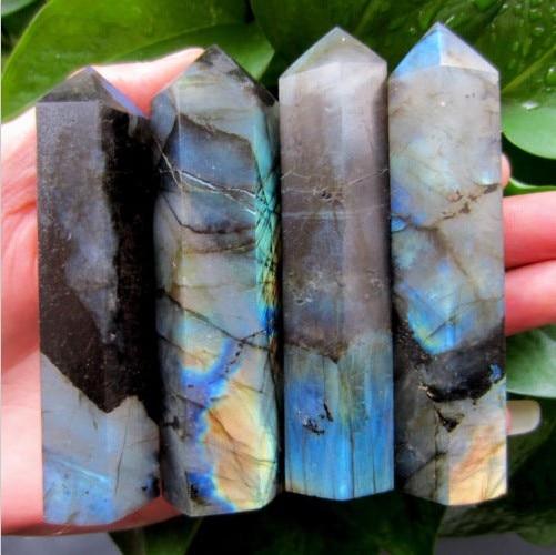 (4pcs/lot 250-270g) 100% natural labradorite quartz crystal point wand healing