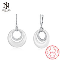 INALIS 925 Sterling Silver Fine Jewelry CZ Round Ceramic Drop Dangle Earrings Fashion Gift For Women