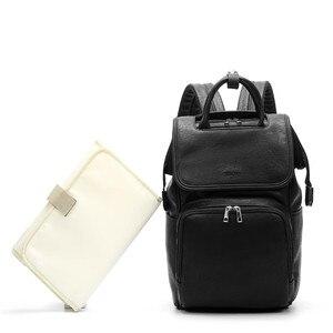 Image 2 - Bolsa de pañales para bebés de cuero PU, mochila para madres, bolsa de pañales de gran capacidad con almohadilla cambiadora + correas para cochecito, color marrón y negro