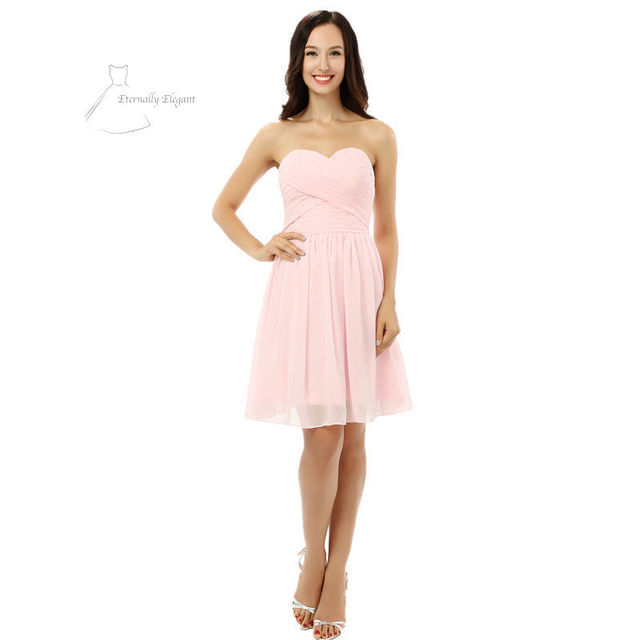 Pale pink Ball Gown Mini Length Puffy Organza Prom Dresses Party ...