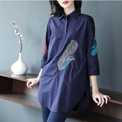 100% Cotton Plus size Feather Embroidery White Long Blouse Women 3/4 Sleeve Art Loose Ladies Office Work Tops Button Down Shirts 6