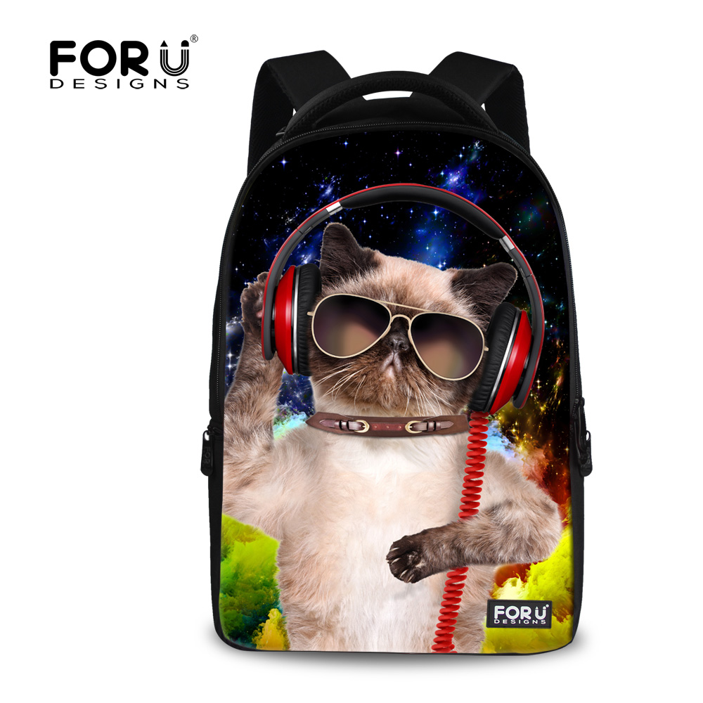 Fashion 17 Inch Laptop Computer Backpack for Women Large Capacity Travel Bagpacks Cat Dog Printing School
