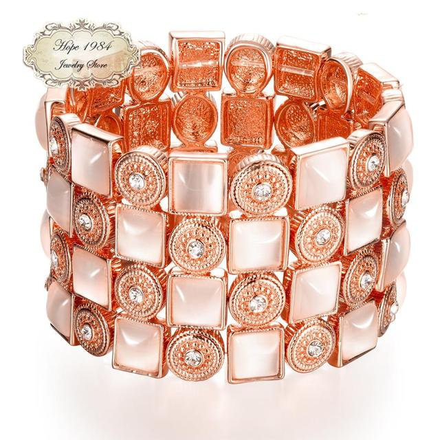 Lunaori Vintage  Rose Gold Plated Square Pink Opal Round Circle Crystal Wide Bracelet For Women Fashion Jewelry Wholesale