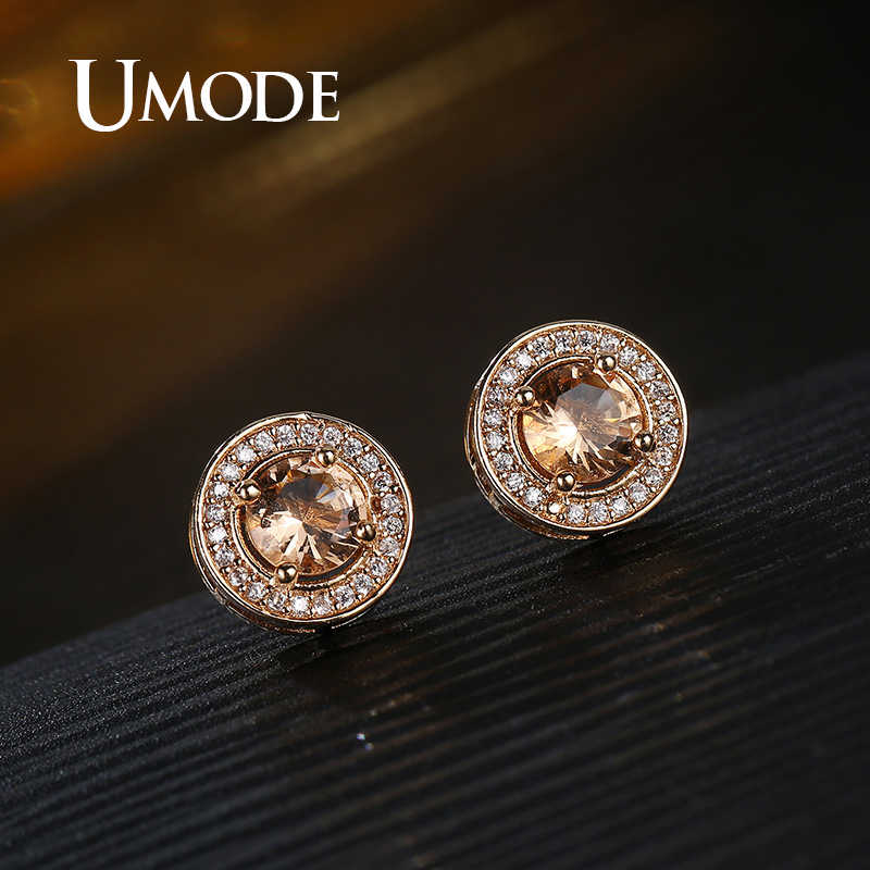 UMODE Luxury Brand Korean Zirconia Earrings Fashion Jewelry 2019 Gold Crystal  Earrings Women Accessories Wholesale UE0588D