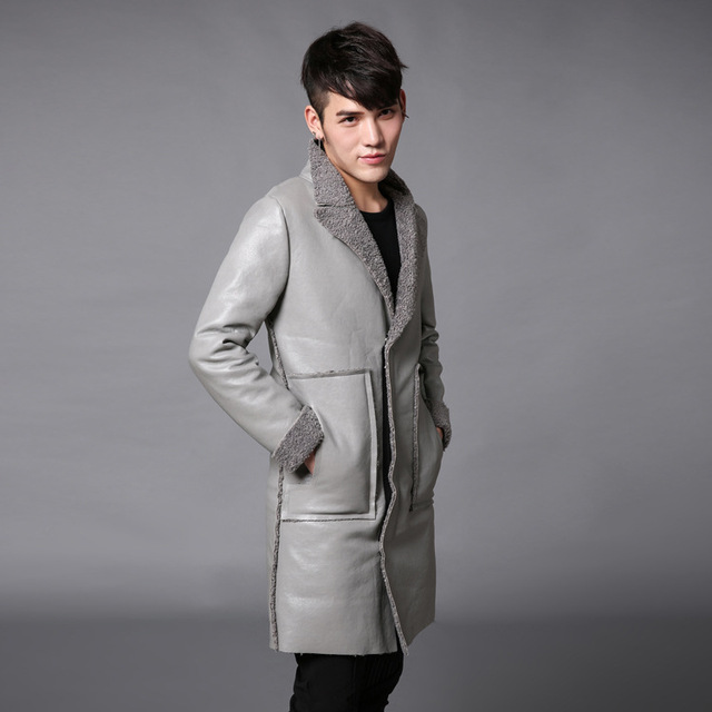 Trench coat men autumn winter thick warm trench jacket medium and long thicken coat fur splicing mens casual overcoat N20
