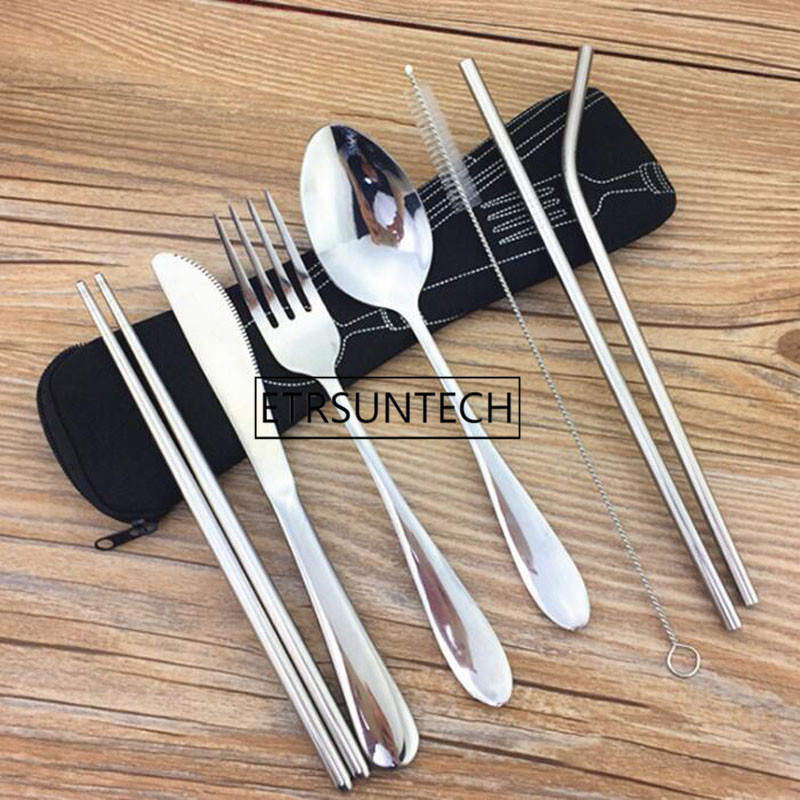 100sets Portable Flatware Set Reusable Stainless Steel Fork Knife Spoon Chopsticks Juice Straw and Cleaning Brush