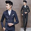 Freeshipping Британский костюм homme новые самые последние конструкции пальто брюки 2-х частей Slim fit полосой свадебные костюмы для мужчин terno masculino