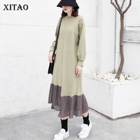 XITAO Spring 2018 New Arrival Loose Full Sleeve Fashion Women Dress Patchwork Ruffles O Neck