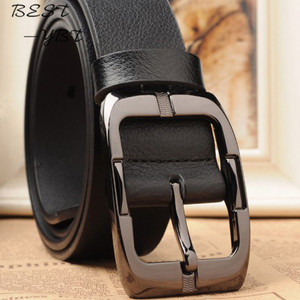 Image 2 - Ремень мужской кожаный деловой, дизайнерский пояс с классической пряжкой, чёрный