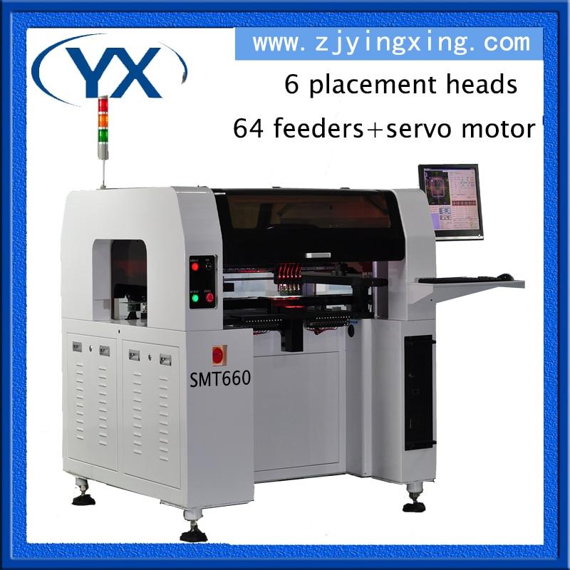 Parduodamas ribotas laikas! Naujausia spausdintinių plokščių surinkimo mašina SMT lustų tvirtinimo įrenginys SMT660 su 6 vnt. Galva ir servo varikliu + tiesiu kreipiančiuoju bėgiu