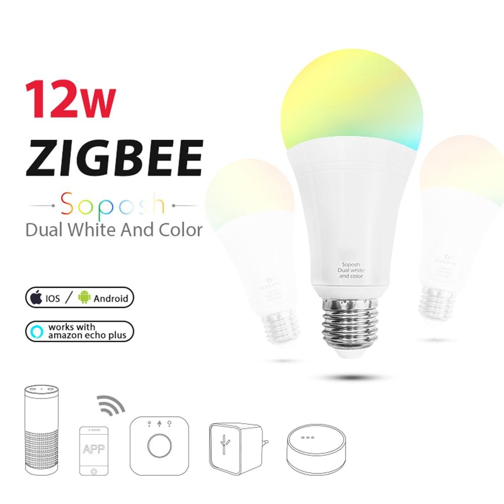 zigbee 12W 6W E27 E26 dual white LED Bulb RGB+CCT bulb AC100-240V RGBW dimmable lamp work for hue Amazon Echo plus ZLL light zigbee bridge led rgbw 5w gu10 spotlight color changing zigbee zll led bulb ac100 240v led app controller dimmable smart led
