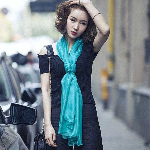 2016 high quality women fashion pure color chiffon scarf laides oversize silk tube scarf foulard femme - Foulard Color