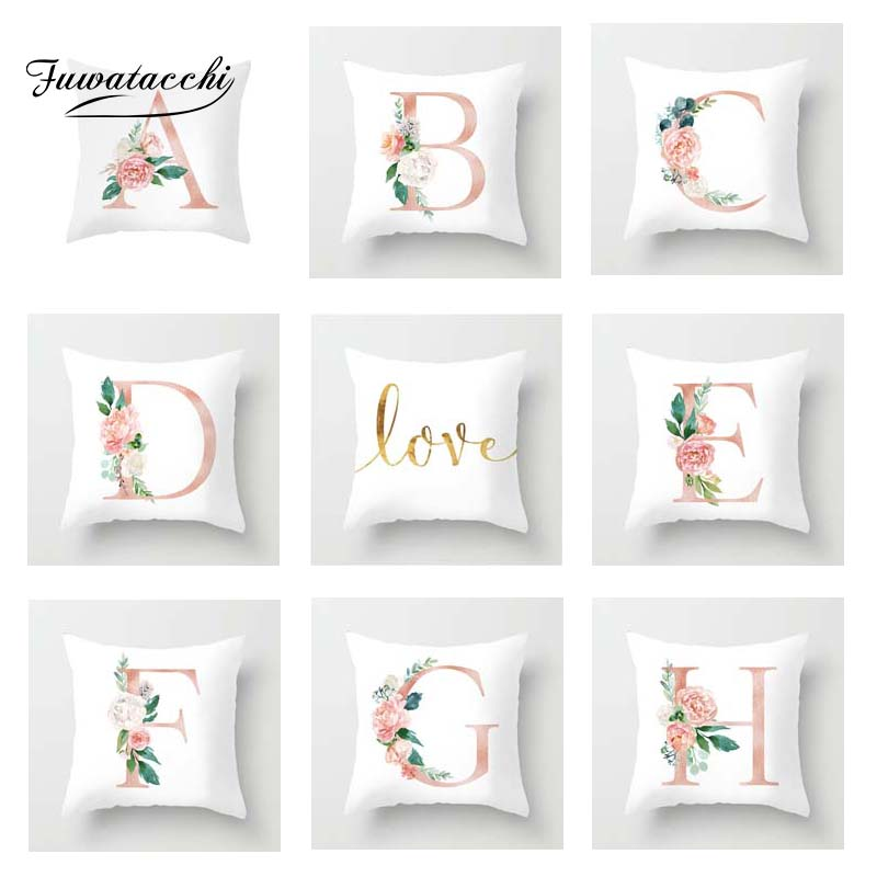 Fuwatacchi Custom Combination Love Letter Cushion Covers Flowers Printed Pillow Cover For Sofa Decor Valentine's Day Pillowcase