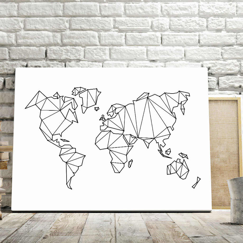 Abstract Geometric World Map Canvas Painting Nordic Posters And Prints Wall Art Print Black White Wall Pictures For Living Room