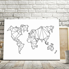 Abstract Geometric World Map Canvas Painting Nordic Posters And Prints Wall Art Print Black White Pictures For Living Room