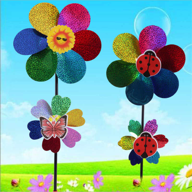 1 PC Kleurrijke Wind Spinner Kids Toy Pailletten Windmolen Wind Spinner Huis Tuin Yard Decoratie