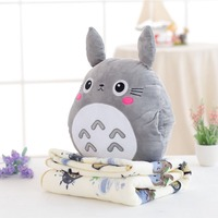 Cute Kawai Totoro Plush Toy Hand Warmer With Blanket Animal Cartoon Pillow Lovely Gifts for Kids Baby Children Good Quality