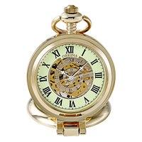 Orkina 남성 여성 스팀 펑크 해골 기계 골드 오픈 얼굴 손 바람 시계 포켓 시계 Fob 돋보기 포켓 시계 발광