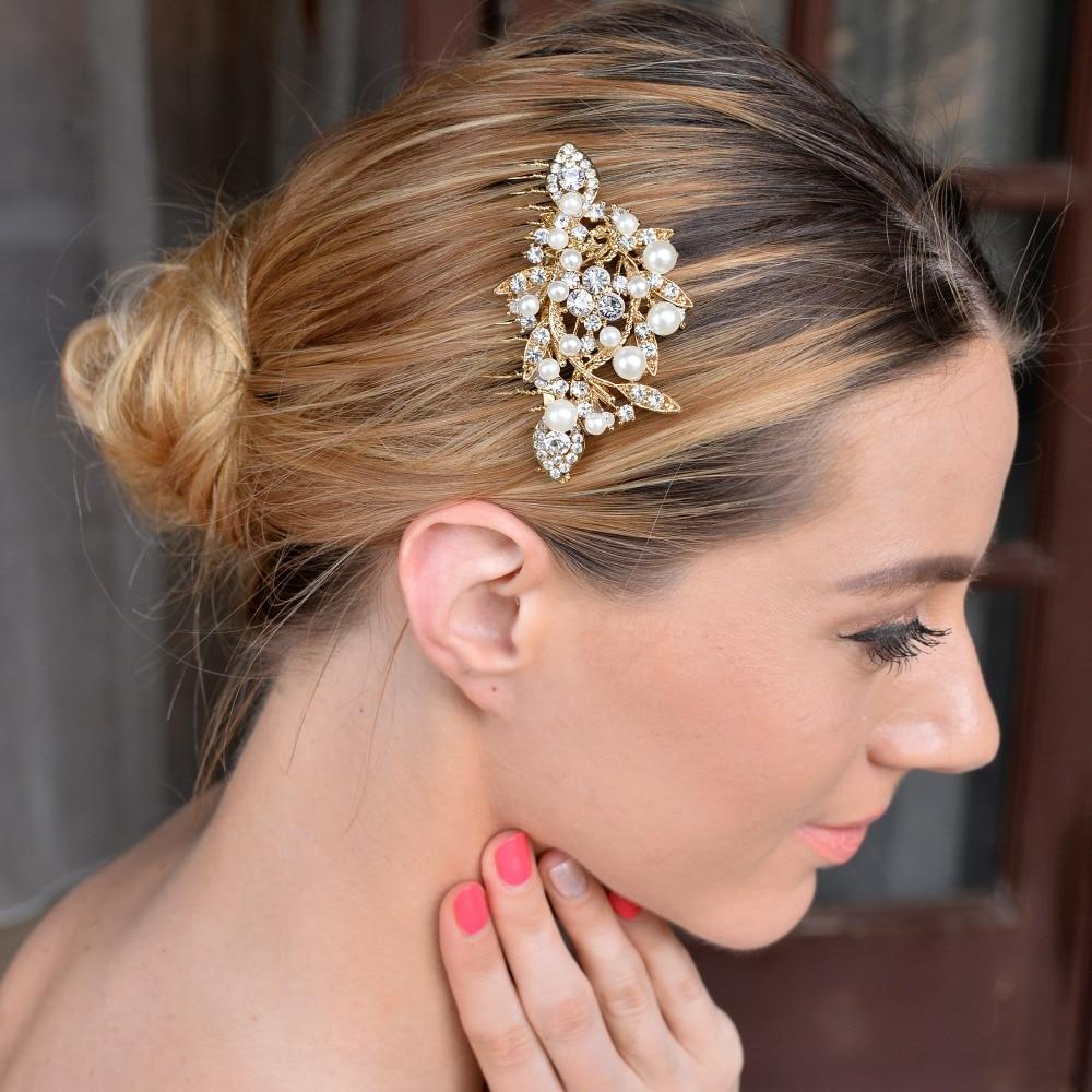 BELLA 2015 Gold Tone Bridal Simulated Pearl Hair Comb Austrian Crystal Head Piece For Wedding Hair