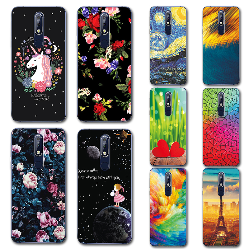 Cute Little Horse Phone Case For Nokia 7.1 Novelty Flowers Painted TPU Case For Nokia 7.1 Plus 2018 Cover Nokia7.1 7.1plus 5.84