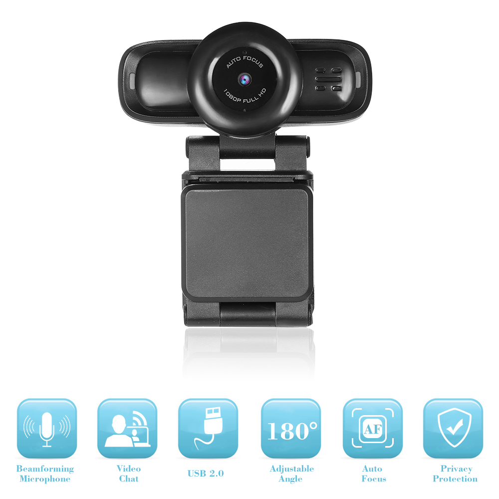 Caméra Web USB mise au point automatique Full HD 1080 P Webcam ordinateur caméra intégrée suppression de bruit micro Webcams enregistrement vidéo HD