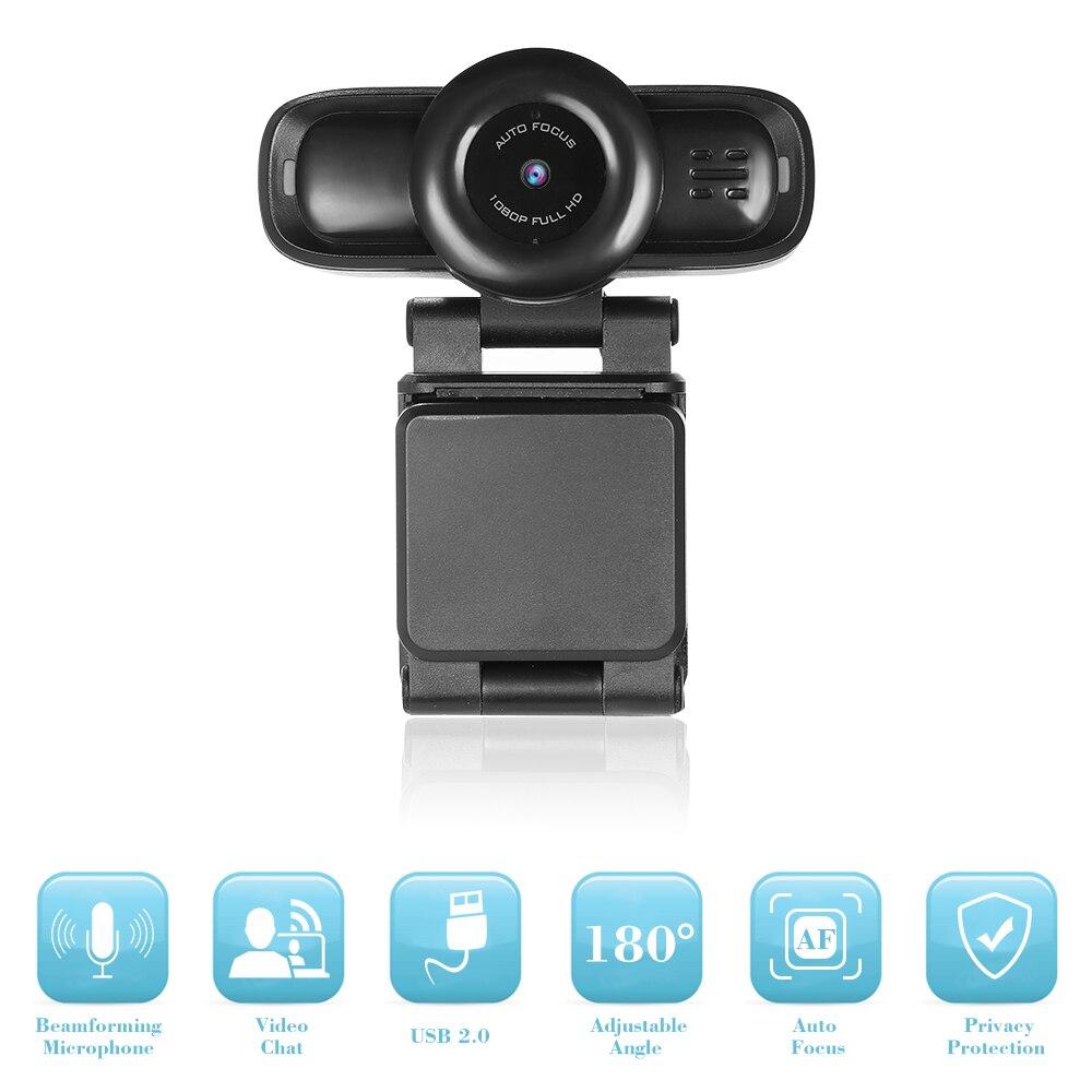 Caméra Web USB mise au point automatique Full HD 1080 P Webcam ordinateur caméra intégrée suppression de bruit micro Webcams enregistrement vidéo HD
