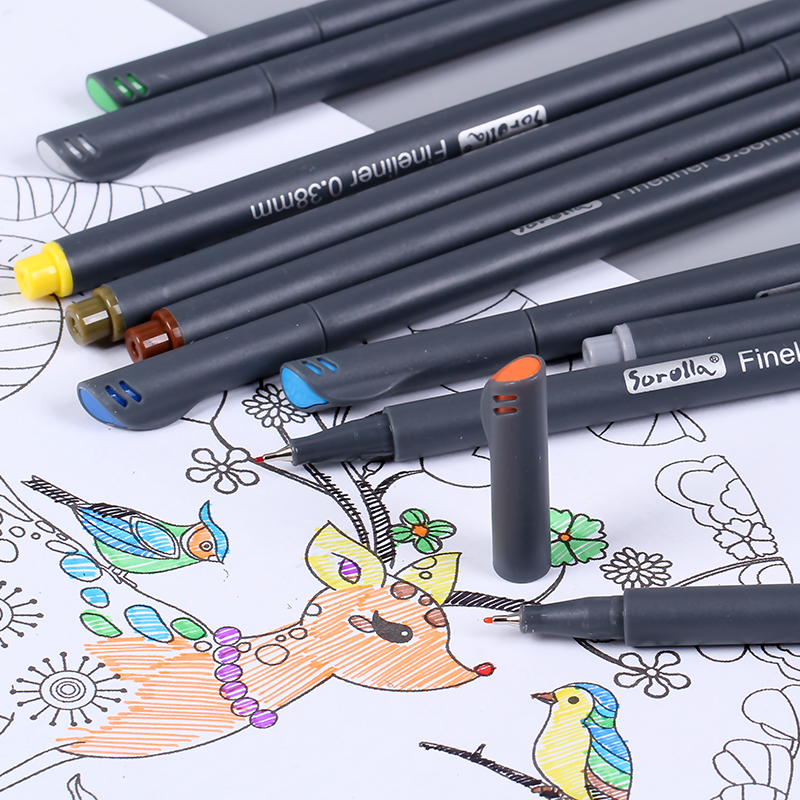 0.38 Mm 12 Colors Fineliner Pens Superfine Marker Pen Water Based Assorted Ink Arts Drawing For Children Graffiti Hook Fiber Pen touchnew 60 colors artist dual head sketch markers for manga marker school drawing marker pen design supplies 5type