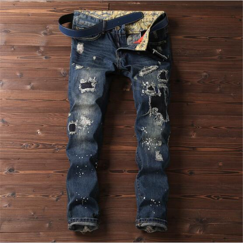 2017 Spring New Men Jeans Slim Casual Hole Embroidered Patch Jeans Leg Opening Burr Denim Pants For Men Pants   A2991