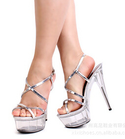 Plus:34-44 Fashion paillette sandals high-heeled transparent crystal platform 15cm thin heels wedding women shoes dress CD pumps 15cm ultra high heels sandals ruslana korshunova platform crystal shoes the bride wedding shoes