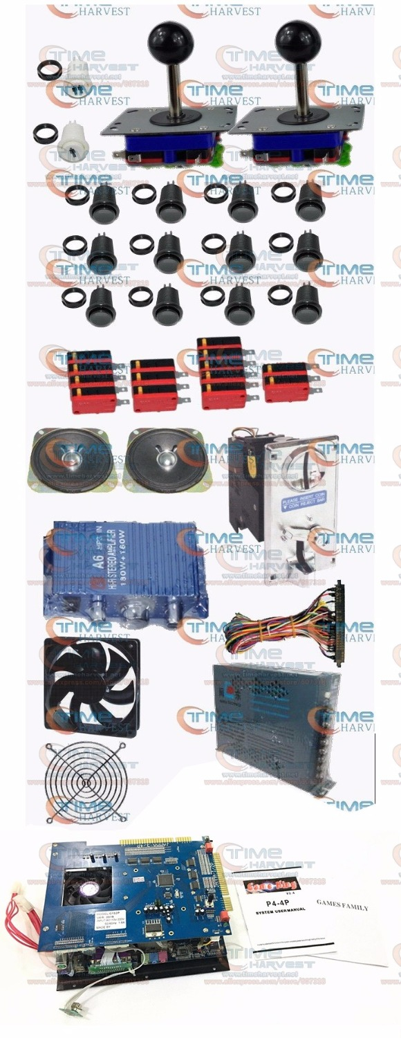 Arcade Parts Bundles Kit With Multi games 2019 in 1 Power supply Joystick Pushbutton Microswitch for VGA LCD Arcade Game Machine the ide ssd with programing 2019 games hard disk for game king 2019 in 1 multi game box accessories arcade game board parts