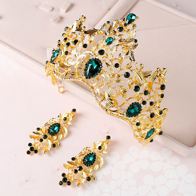 New Vintage Gold Baroque Queen Tiara Crowns and Earrings Women Wedding Party Hair Ornaments Bride Green Red Crystal Tiaras ML616 03 red gold bride wedding hair tiaras ancient chinese empress hat bride hair piece