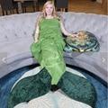Hecho A Mano suave de La Sirena Cola Polar Manta de Tiro Lap Cama cobertor Envoltura Aleta Capullo Cálido Traje Niños Niños Adultos Saco de dormir