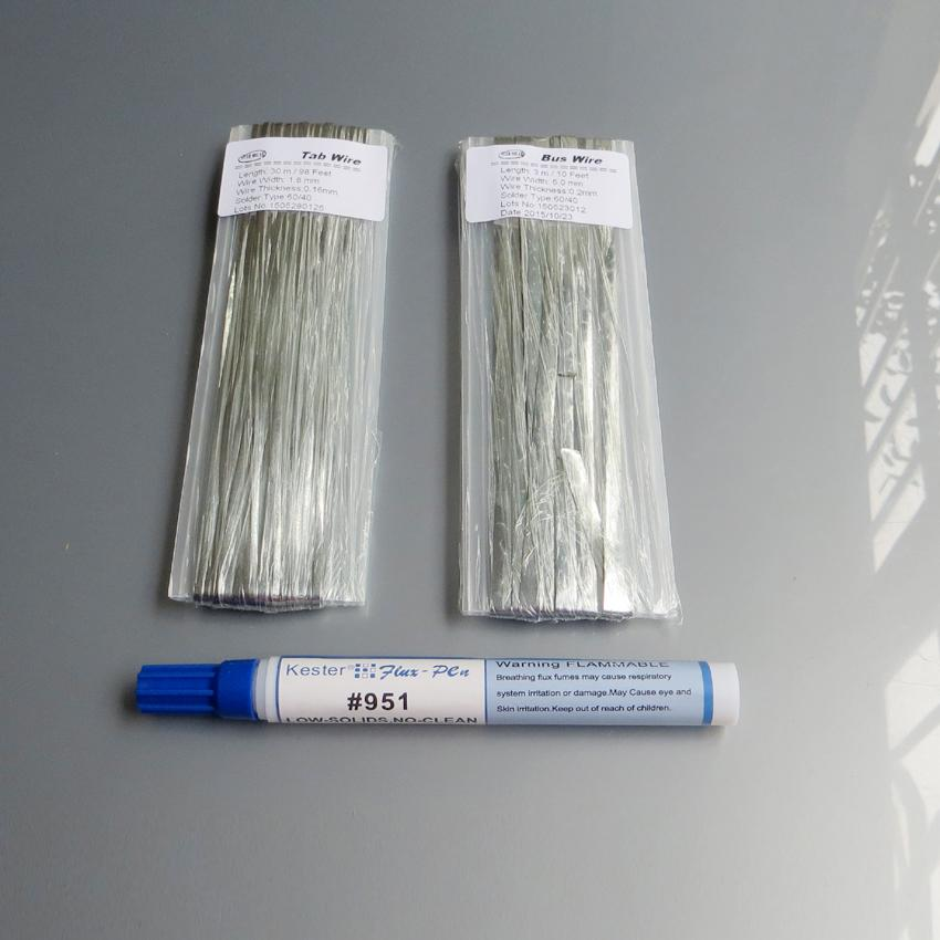 30M Tab wire + 3M Bus wire PV Ribbon Tabbing wire +1pc 951 10ml Soldering Rosin Flux Pen