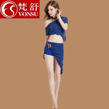 Lady Belly Dancing Suit 3pcs Belly Dance Clothes One Shoulder Top Split Skirt Belly Dancing Wear Women Dance Suit D07