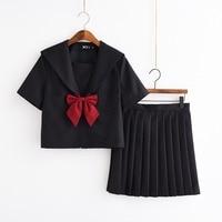 S XXL JK Student School Girls Uniforms Black Short sleeve Long Sleeve Top+Skirt+Red Bow Cosplay Sailor Uniform