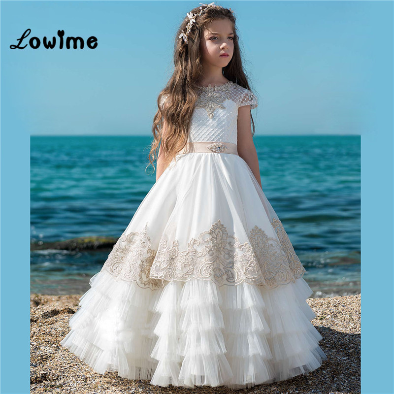 Lovely Tiered Skirt   Flower     Girl     Dresses   Pageant   Dresses   For   Girls   2018 New Custom Capped Sleeve First Communion   Dresses   For   Girl