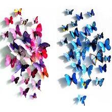 (Распродажа) 12 шт/лот 3d наклейки на стену бабочка магнит холодильник