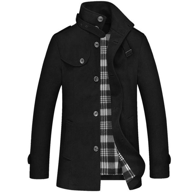 Men Pea Coat Winter Jacket Coats Stand Collar Single Breasted Long Sleeve New Casual Business Woolen Blend Overcoat For Male 3XL