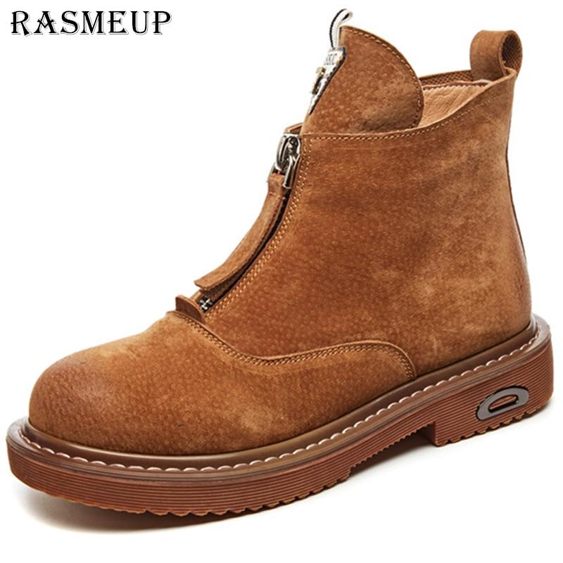 RASMEUP Genuine Leather Warm Martin Boots Women 2019 Spring Retro Zipper Plush Women s Boots Casual