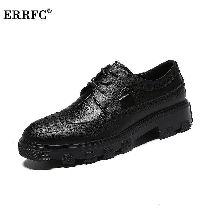 Plate Loisirs Hommes Noir Errfc Nouvelle forme Robe Fond Mode Homme Bureau Chaussures Hauteur Épais Bout Richelieu Rond Croissante TTq1gHvWU